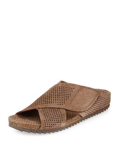 Alena Perforated Slip-On Sandal, Taupe