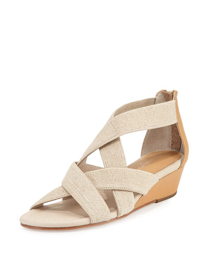 Didi Elastic Demi-Wedge Sandal, Natural