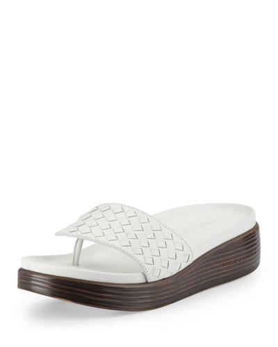 Fifi Woven Platform Sandal, White