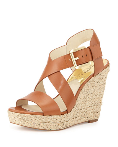 Giovanna Leather Espadrille Wedge Sandal, Luggage