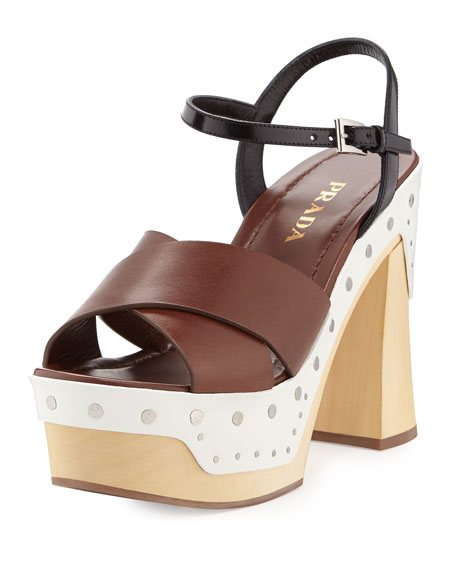 Prada Colorblock Clog-Bottom Sandal