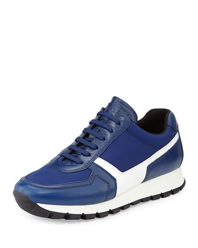 Vitello Leather Lace-Up Trainer, Bluette