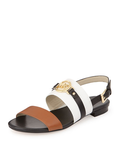 Molly Leather Flat Sandal, Optic/Black/Luggage