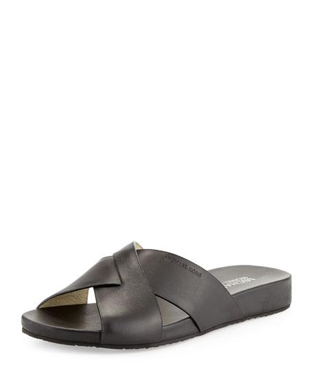 MICHAEL Michael Kors Somerly Leather Slide Sandal, Gray