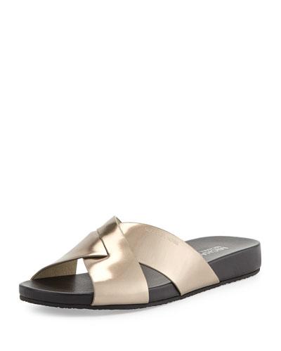 Somerly Metallic Crisscross Slide Sandal, Nickel