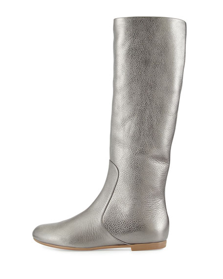 Round Toe Leather Flat Boot, Gray