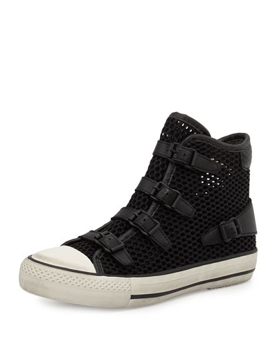 Vanessa Mesh High-Top Sneaker, Black