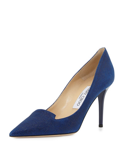 Alia Speckled Leather Pump, Blue