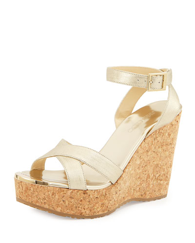 Papyrus Textured Leather Wedge Sandal, Gold