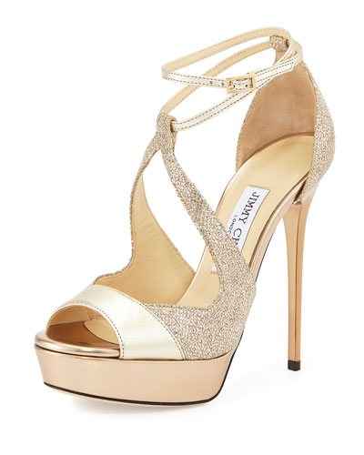 Valdia Textured Leather Glitter Pump, Light Gold