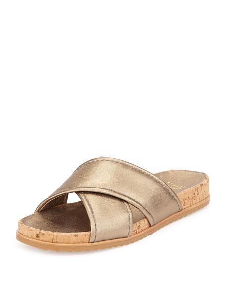 Stuart Weitzman Spa Metallic Leather Crisscross Sandal, Ale