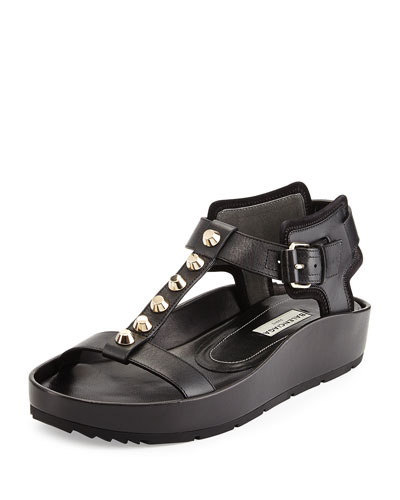 Studded Leather T-Strap Sandal, Black