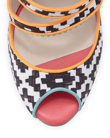 Amma Printed Fabric Sandal, Black/White