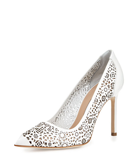 Manolo Blahnik BB Laser-Cut Patent Pump, White