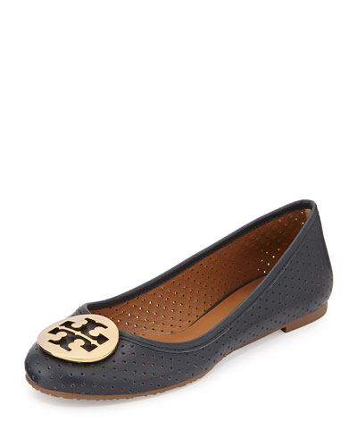 Reva Perforated Leather Ballet Flat, Tory Navy