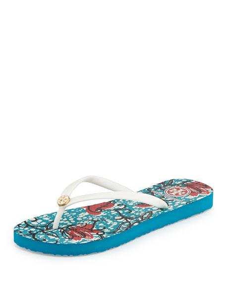 Printed Flat Flip-Flop Sandal, Ivory
