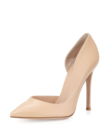 Leather Open-Side Pump, Nude