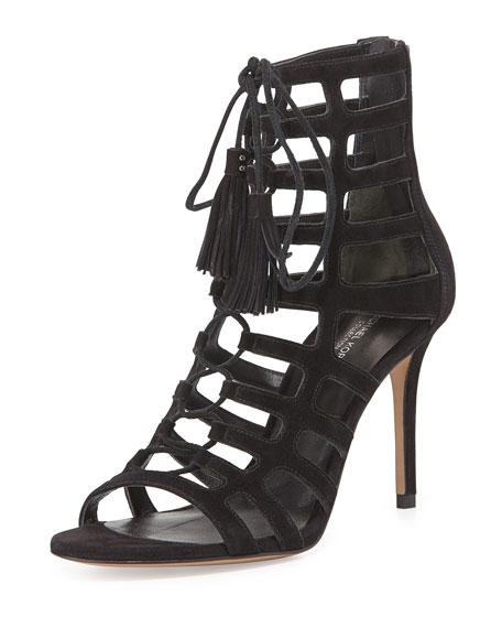 Bardot Suede Caged Sandal, Black