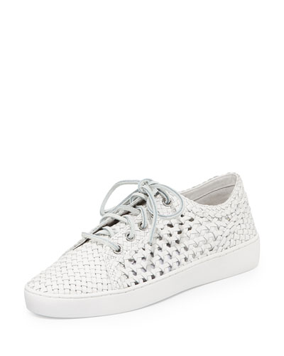 Violet Woven Leather Sneaker, Optic White