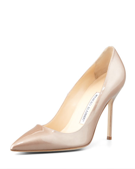 Manolo Blahnik BB Point-Toe Metallic Patent Pump, Nude