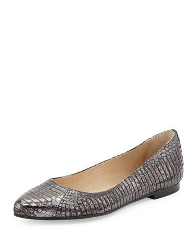 Olive Ballerina Flat, Charcoal