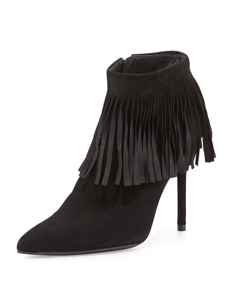 Fringetimes Pointed-Toe Fringed Bootie, Black