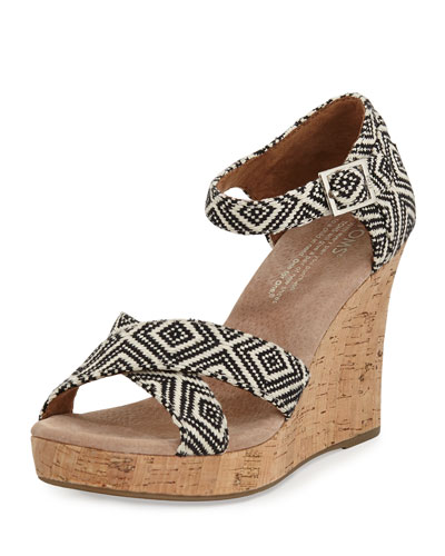 Woven Diamond Strappy Wedge Sandal, Black