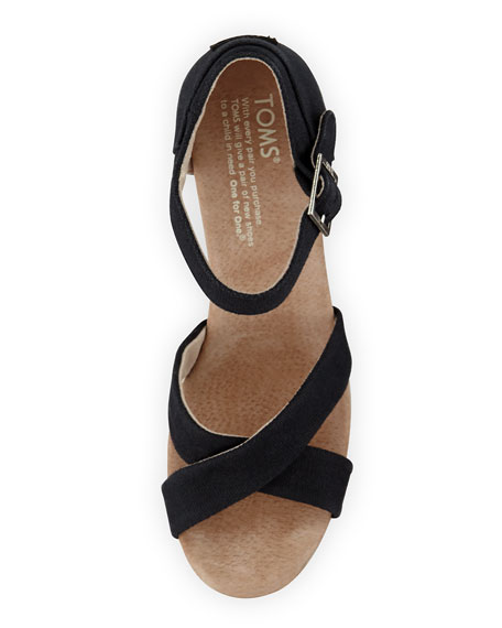 Strappy Canvas Wedge Sandal, Black