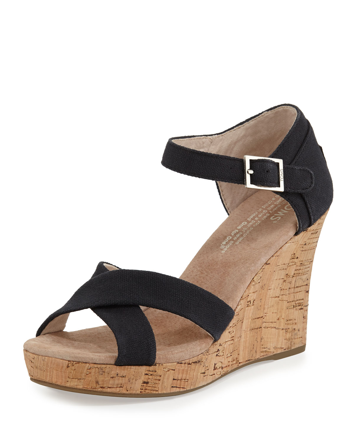 Black Strappy Wedge Canvas Toms- Black sandals