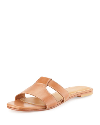 Mesi Leather Sandal Slide, Bruciato