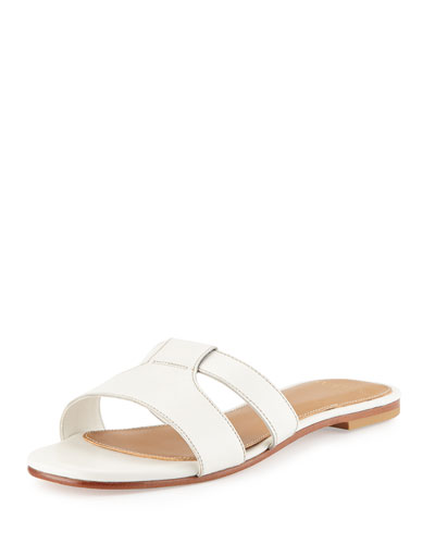 Mesi Leather Sandal Slide, White