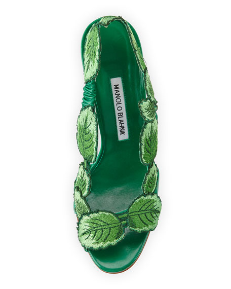 Climatida Leaf Embroidered Sandal, Green