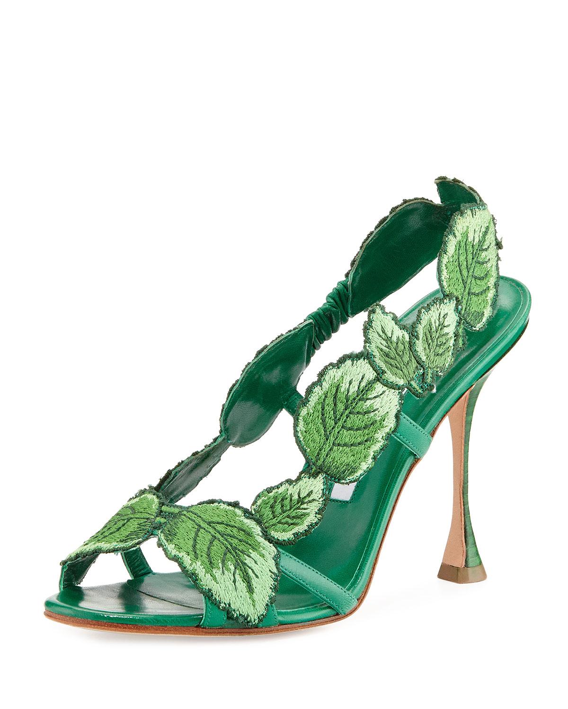 43981792abfe Manolo Blahnik Climatida Leaf Embroidered Sandal