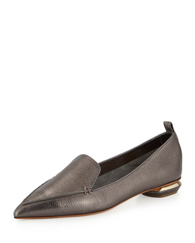 Metallic Leather Loafer, Dark Gray