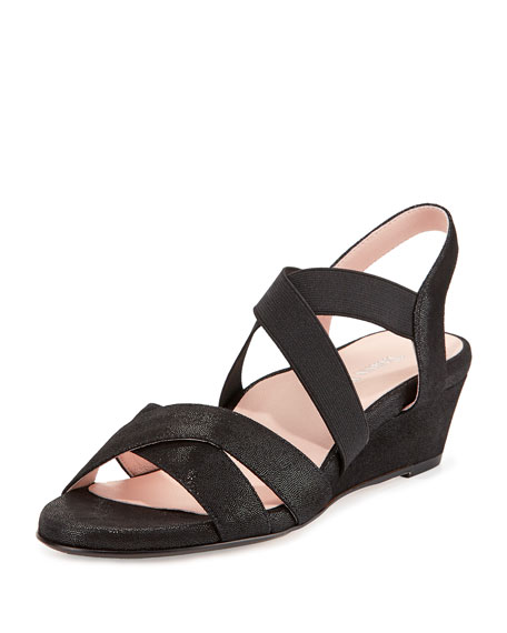 Taryn Rose Spiro Demi-Wedge Sandal, Black