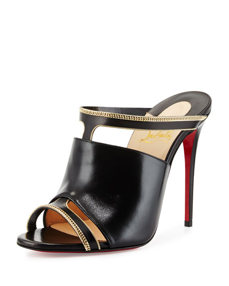 Christian Louboutin Akenana Red Sole Mule Pump, Black/Gold
