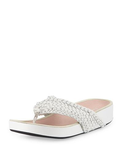 Alvis Woven Flip-Flop Sandal, White