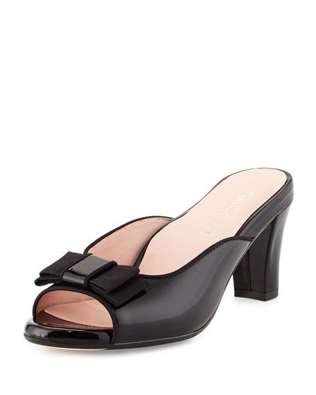 Taryn Rose Fico Peep-Toe Bow Mule, Black