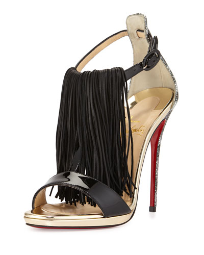 Casanovella Fringe Red Sole Pump, Black/Silver