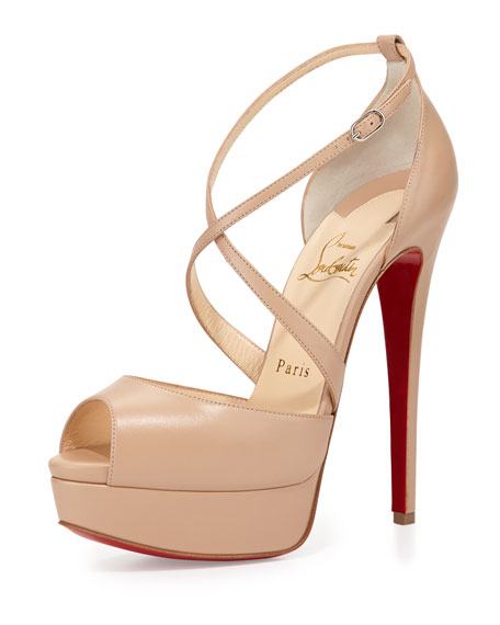 Christian Louboutin Cross Me Platform Red Sole Sandal, Nude