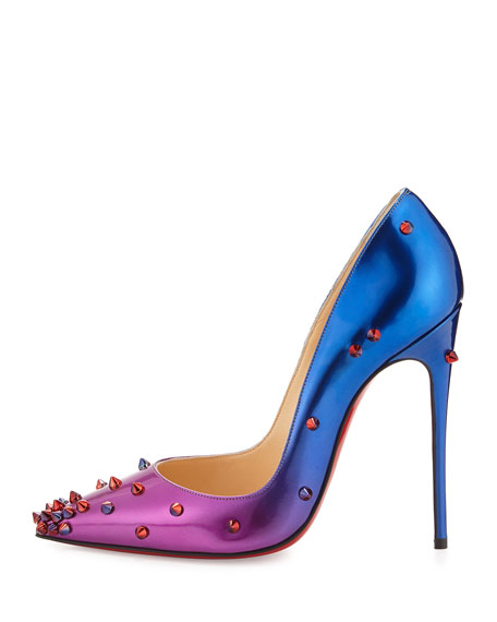 christian louboutin degraspike patent red sole pump rose/blue