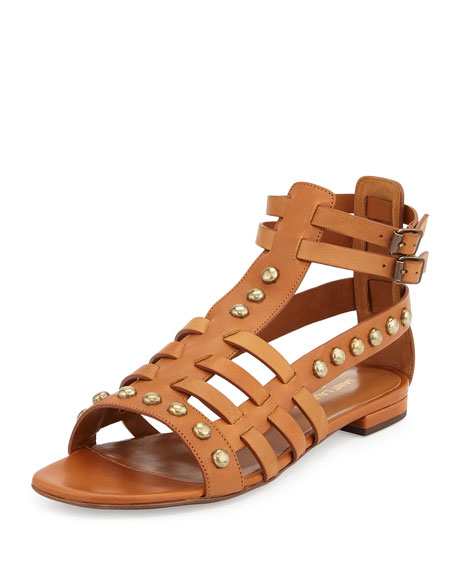 Saint Laurent Studded Leather Huarache Sandal, Cognac