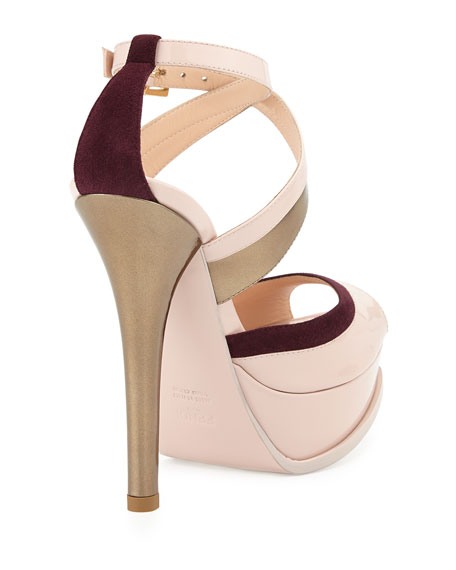Fendista Crisscross Strap Sandal, Quartz/Plum/Copper
