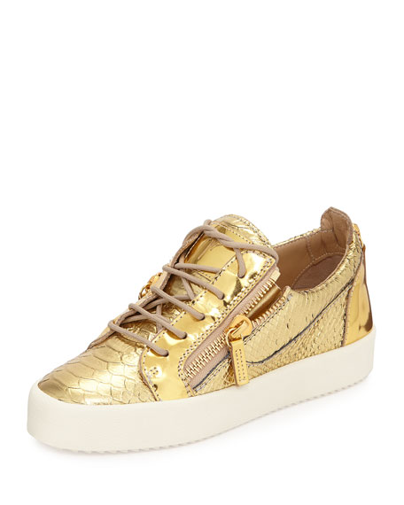 Snake-Embossed Metallic Sneaker, Gold
