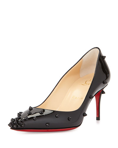 Degraspike Studded Leather Red Sole Pump, Black
