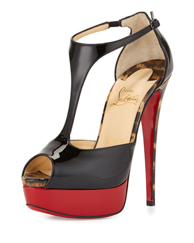 Jailopa Patent Red Sole Pump, Black/Leopard