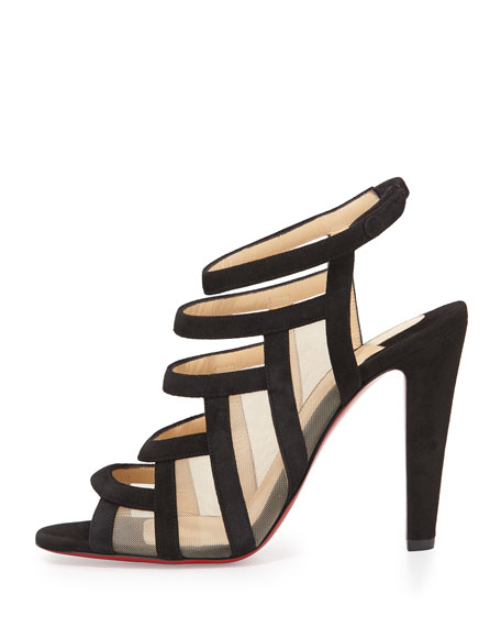 Christian Louboutin Nicobar Caged Red Sole Sandal, Black/Natural