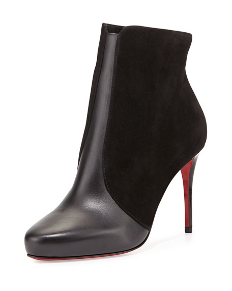Christian Louboutin Gaetanina Paneled Red Sole Bootie, Black