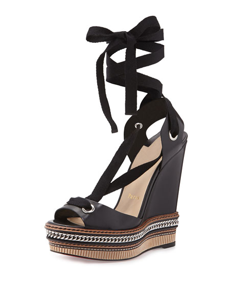 black and white louboutins - Christian Louboutin Tribuli Lace-Up Red Sole Wedge Sandal