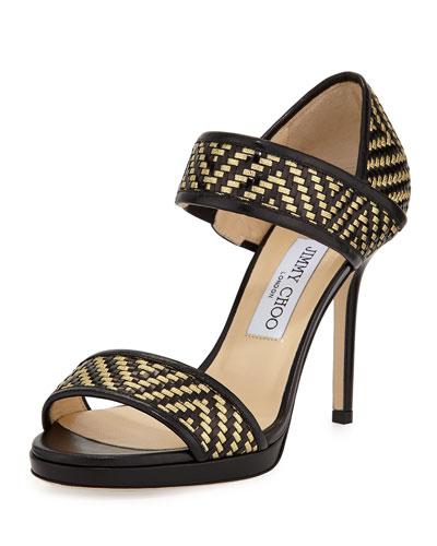 Alana Metallic Woven Sandal, Black/Gold